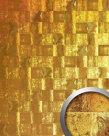 Revestimiento mural vintage WallFace 19020 LUXURY HOLOGRAFICO Panel decorativo liso de aspecto metal holográfico autoadhesivo oro