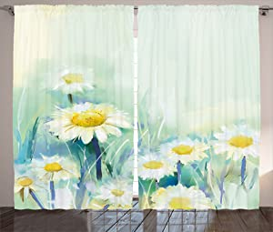 "Ambesonne Flower Curtains, Daisies on Grass Mother Earth Impressionist Expression of Nature Print, Living Room Bedroom Window Drapes 2 Panel Set, 108"" X 84"", Pale Green"