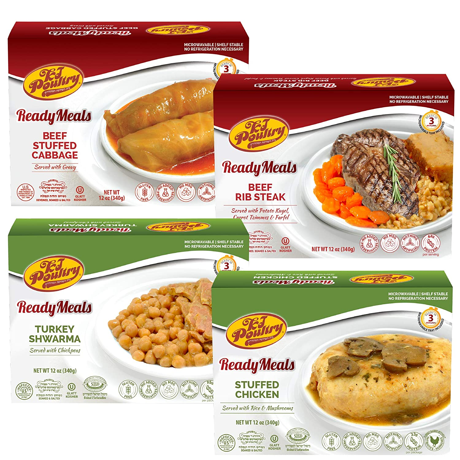 Kosher Mre Meat Meals Ready to Eat, Variety of Beef Rib Steak, Stuffed Cabbage Rolls, Chicken Breast, Turkey Shwarma (4 Pack Bundle) - Prepared Entree Fully Cooked, Shelf Stable Microwave Dinner
