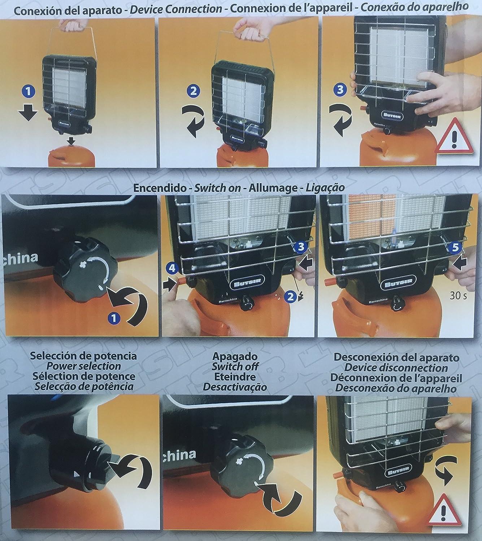 ANGOPE Estufa Pantalla Gas butano - Estufa portátil de Infrarrojos para bombonas Butsir de 2 y 3 kg – Dos Modos de Funcionamiento – Garantía Butsir