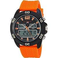 U.S. Polo Assn. Men's Quartz Metal and Rubber Casual Watch, Color:Orange (Model: us9653)