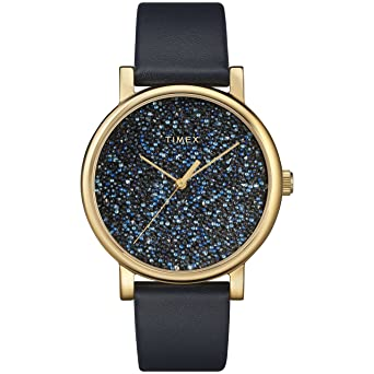Timex Womens TW2R98100 Crystal Opulence Blue/Gold Leather Strap Watch