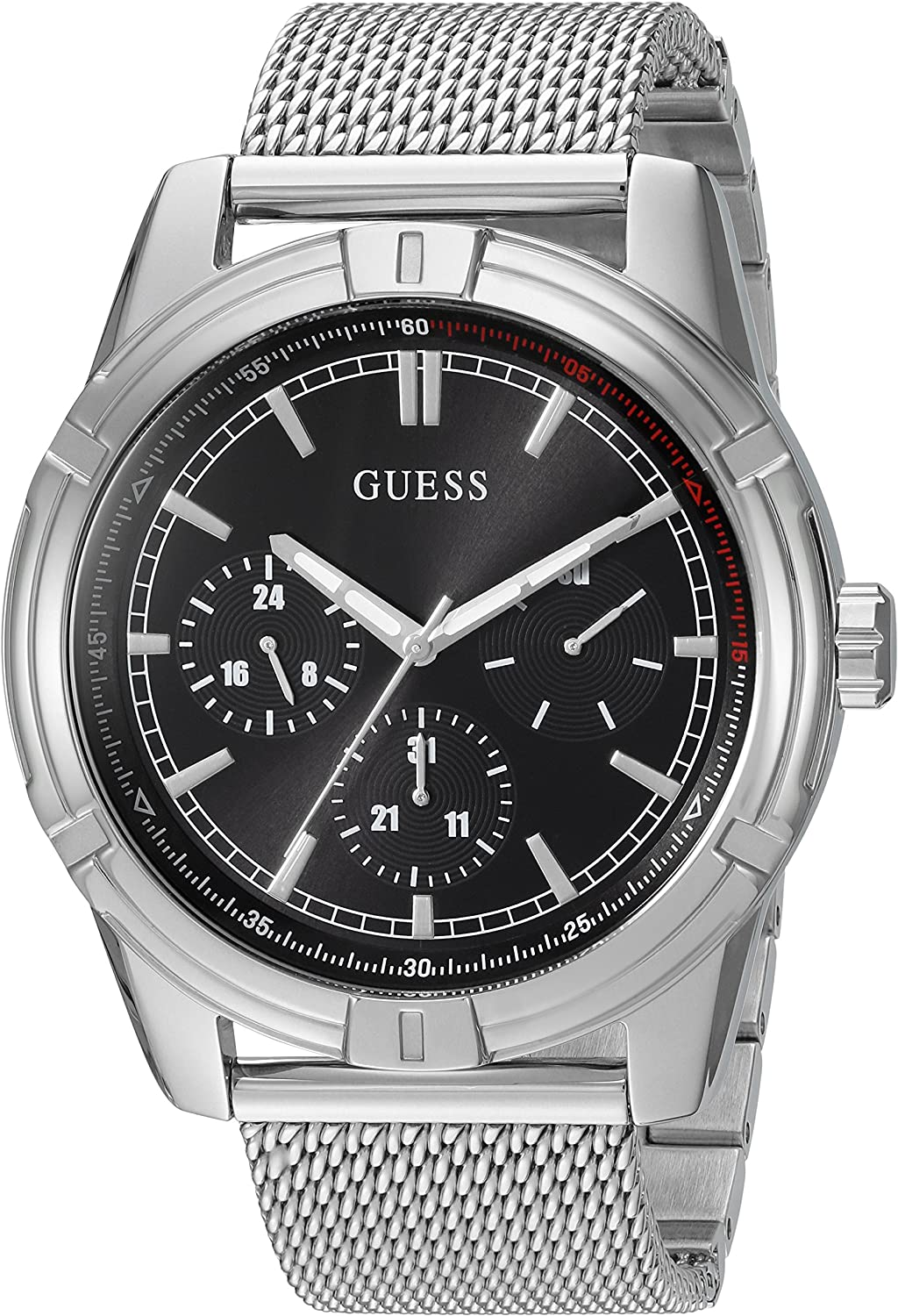 GUESS Men s Quartz Watch with Stainless-Steel Strap, Silver, 22 Model U0965G1