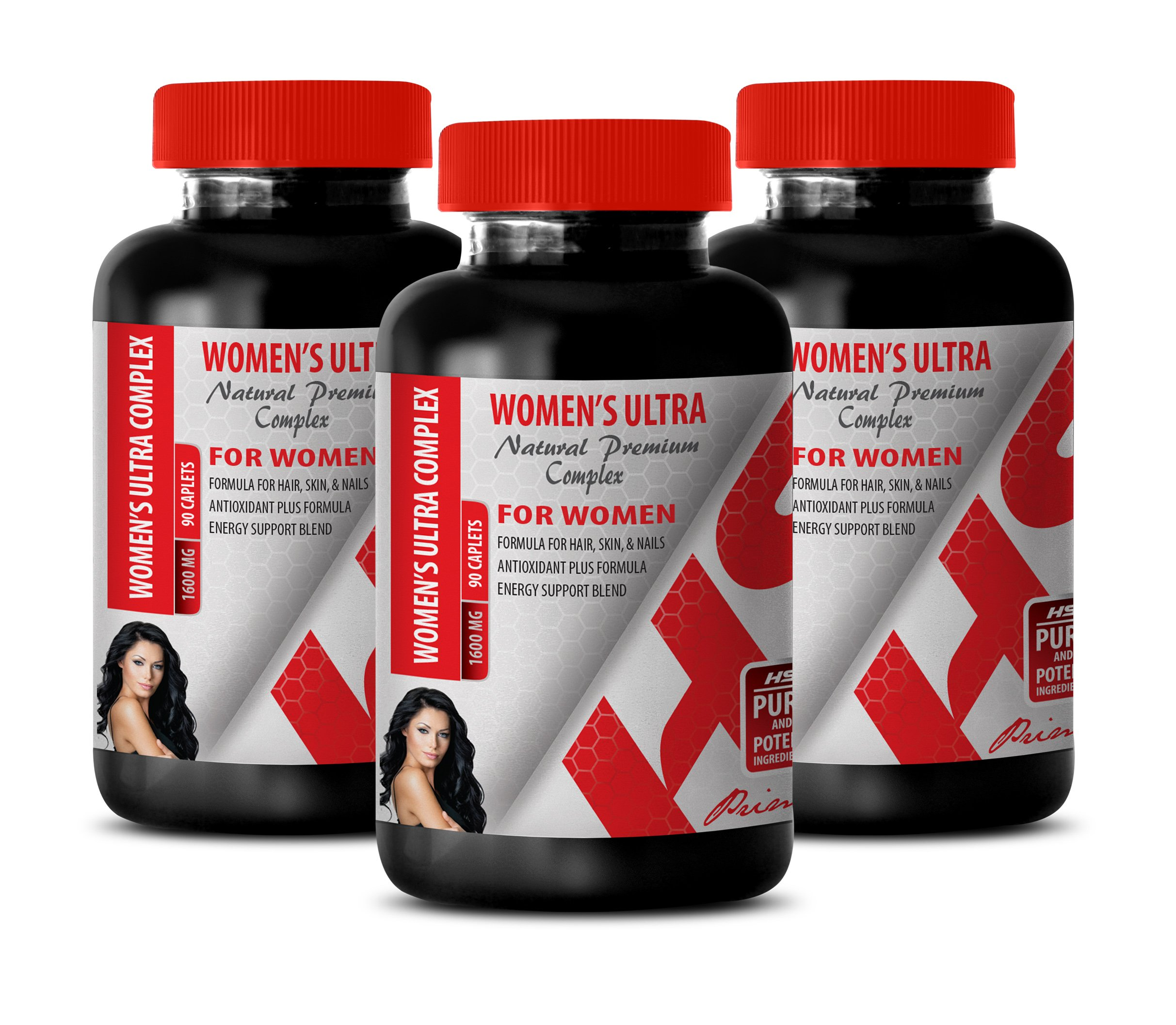 Hair Nail Skin Vitamins for Women - Women's Ultra Natural Premium Complex 1600 mg - Multivitamin for Women Capsules Natural - 3 Bottles 270 Caplets