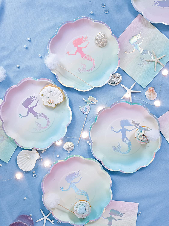 enterrements de vie de jeune fille et f/êtes /à th/ème Talking/Tables We Love Mermaids Kit d/'assiettes en carton et serviettes de table pour anniversaires