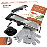 Pronto Kitchen Adjustable Stainless Steel Mandoline Food Slicer - Comes with One Pair FREE Cut-Resistant Gloves || Vegetable Onion Potato Chip French Fry Julienne Slicer