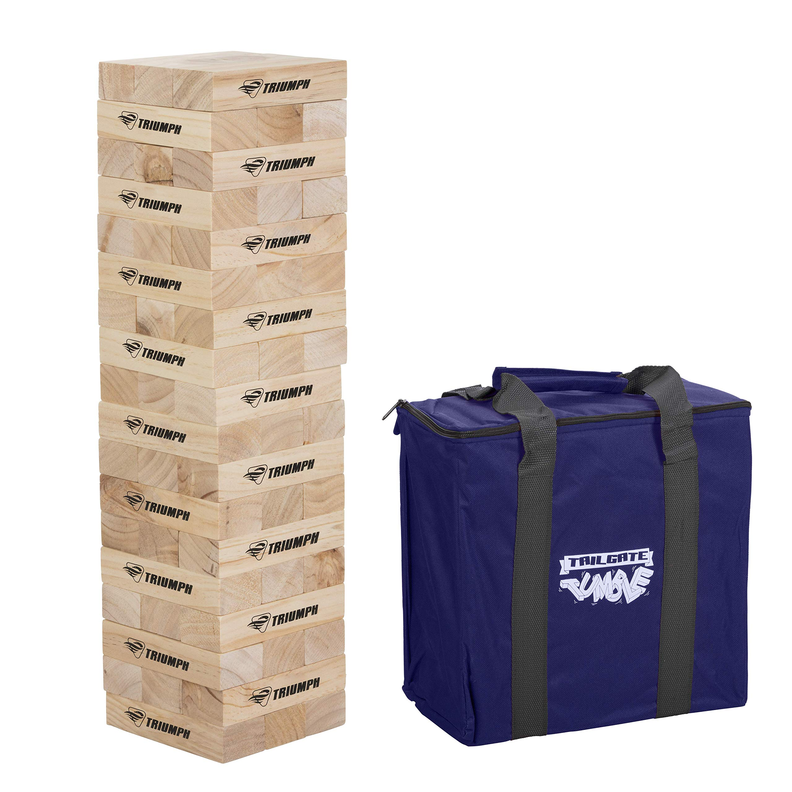 Triumph Fun Size 54 Tumble Strong Stacking Wooden Blocks for Game Nights with Family and Friends by Triumph Sports