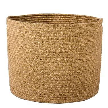Goodpick Woven Storage Basket - Jute Basket - Rope Basket Handles Toys, Magazine, Books, Blanket, Logs Pot Plant Cover, Versatile Plant Holder Floor Laundry Storage Bin, 15.8  H x 12.6  D