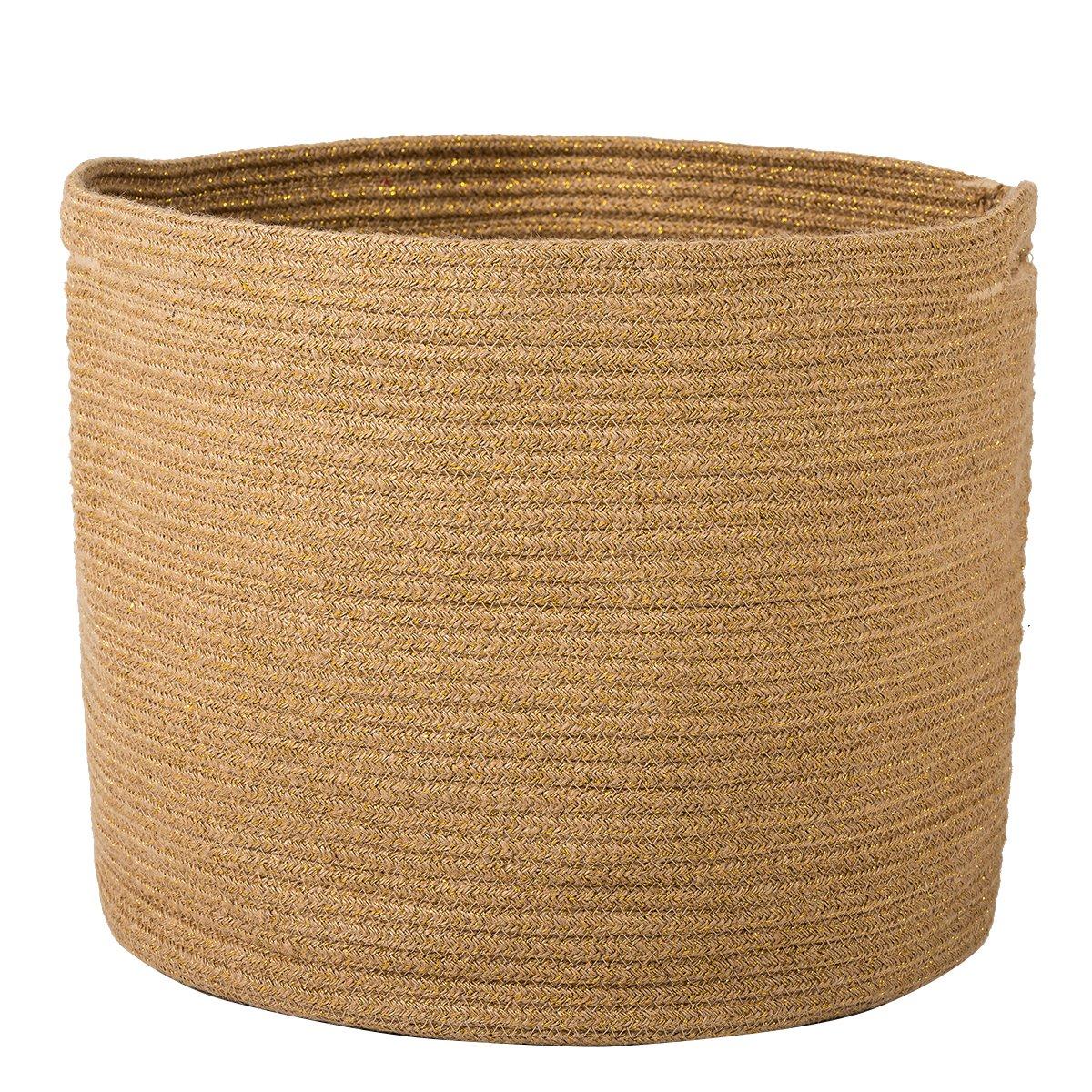Goodpick Woven Storage Basket - Jute Basket - Rope Basket with Handles for Toys, Magazine, Books, Blanket, Logs, and Pot Plant Cover, Versatile Plant Holder Floor Laundry Storage Bin, 15.8''H x 12.6''D