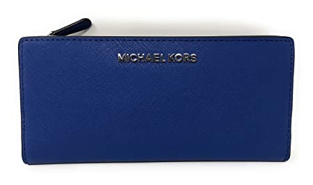 76082104210f0d Image Unavailable. Image not available for. Colour: Michael Kors Jet Set  Travel Large Card Case Carryall Leather Wallet in Sapphire/Black