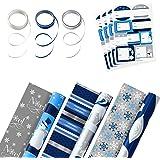 标志双面圣诞节包装纸套装,带丝带和礼品标签贴纸,优雅的蓝色和银色