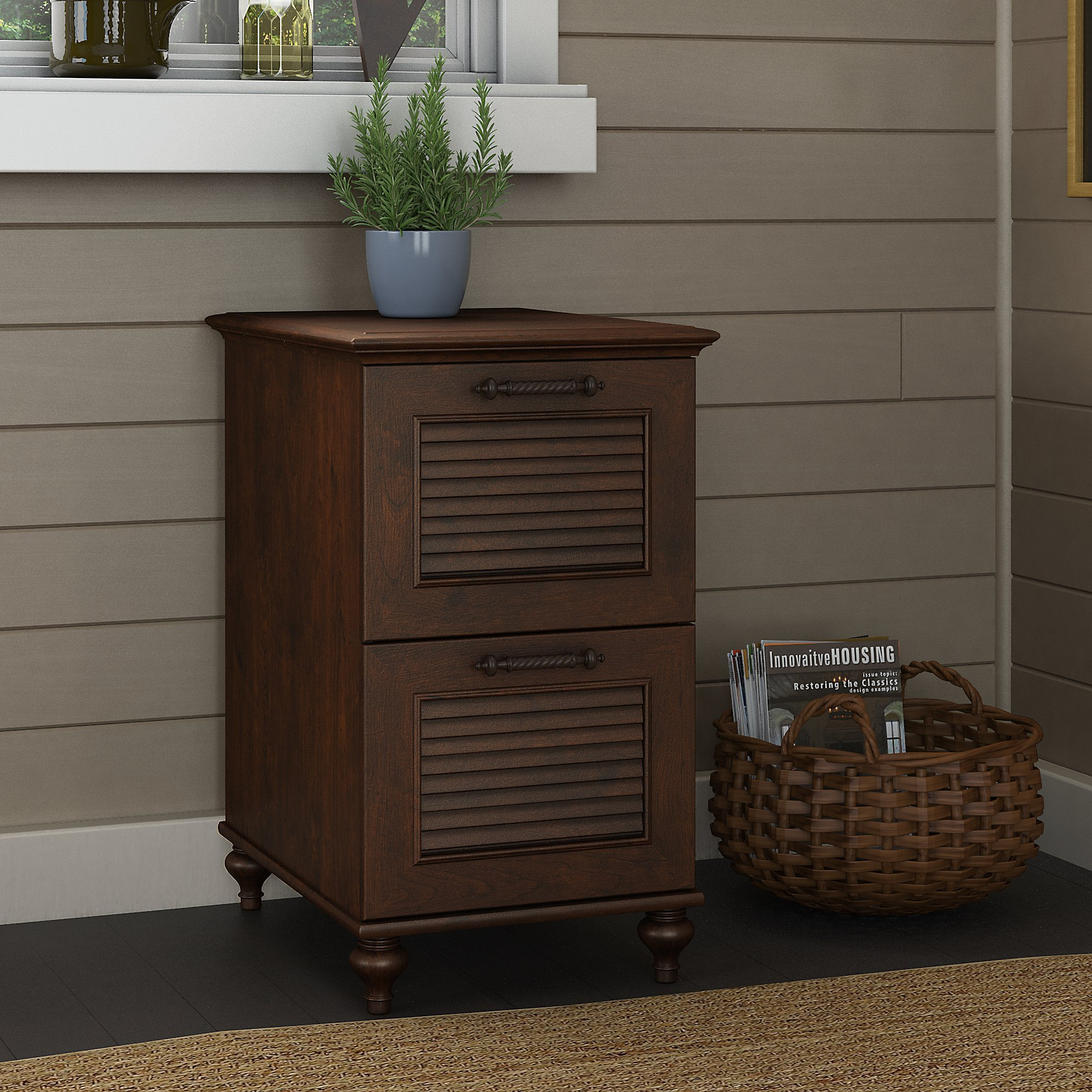 kathy ireland Home by Bush Furniture Volcano Dusk 2 Drawer File Cabinet in Coastal Cherry