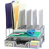 SimpleHouseware Mesh Desk Organizer with Sliding Drawer, Double Tray and 5 Upright Sections, Silver