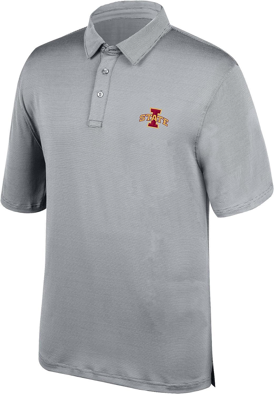 J America NCAA Mens Ohio State Buckeyes Yarn Dye Striped Polo Shirt Small Black