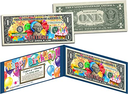 Amazon.com: Feliz Cumpleaños Regalo Coloreada $1 Bill ...