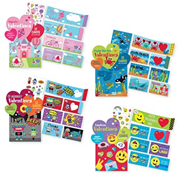 Amazon Com Kids Valentine S School Value Pack Cards 128 Valentine