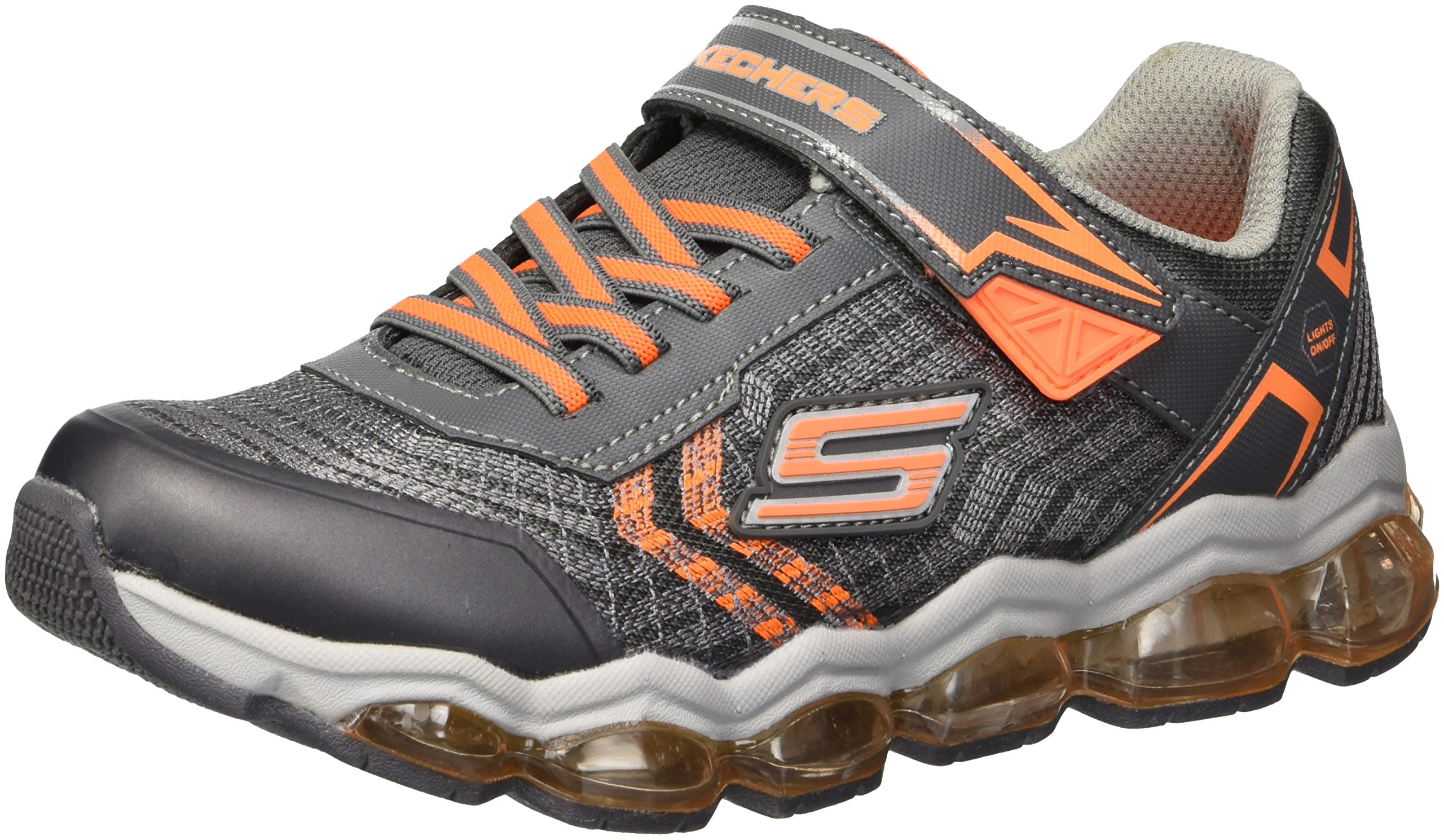 Skechers Kids Boys' Turbo-Flash Sneaker,Charcoal/Orange,3.5 Medium US Big Kid