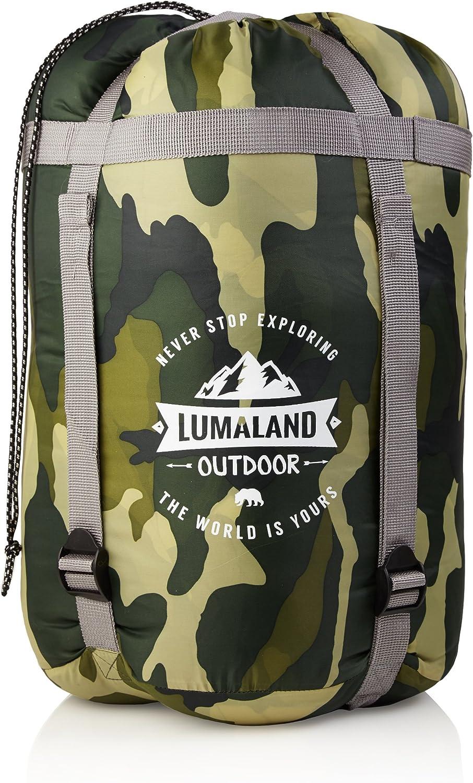 50 x 25 cm ca Bolsa de Transporte incluida ca 230 x 80 cm Lumaland Outdoor Saco de Dormir