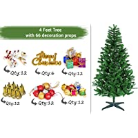 TIED RIBBONS Christmas Xmas Tree for Home Office Decoration (4 Feet) with 66 Ornaments