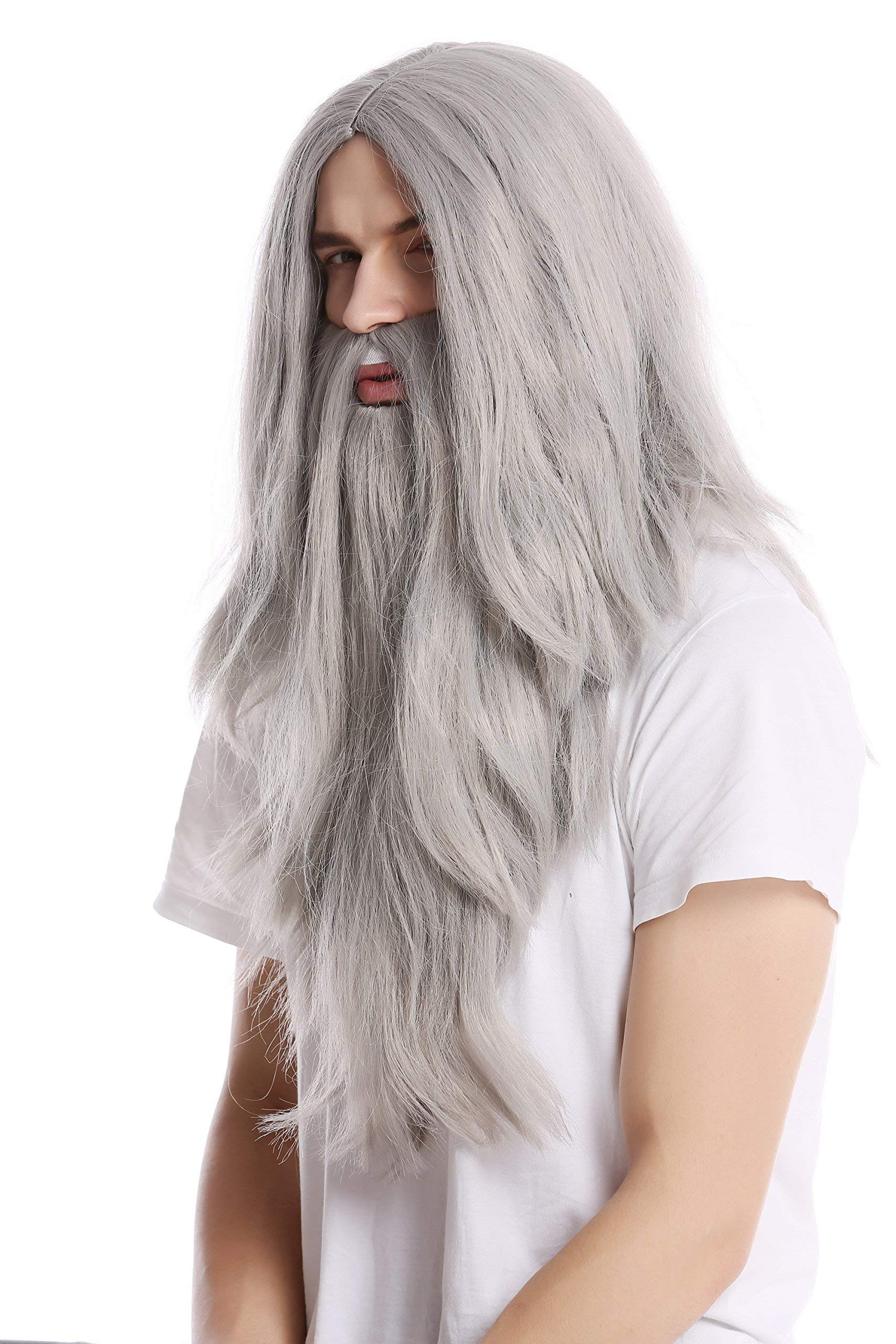 WIG ME UP ® - PW0210-ZA68E Peluca Lisa Larga & Barba Carnaval Color Gris