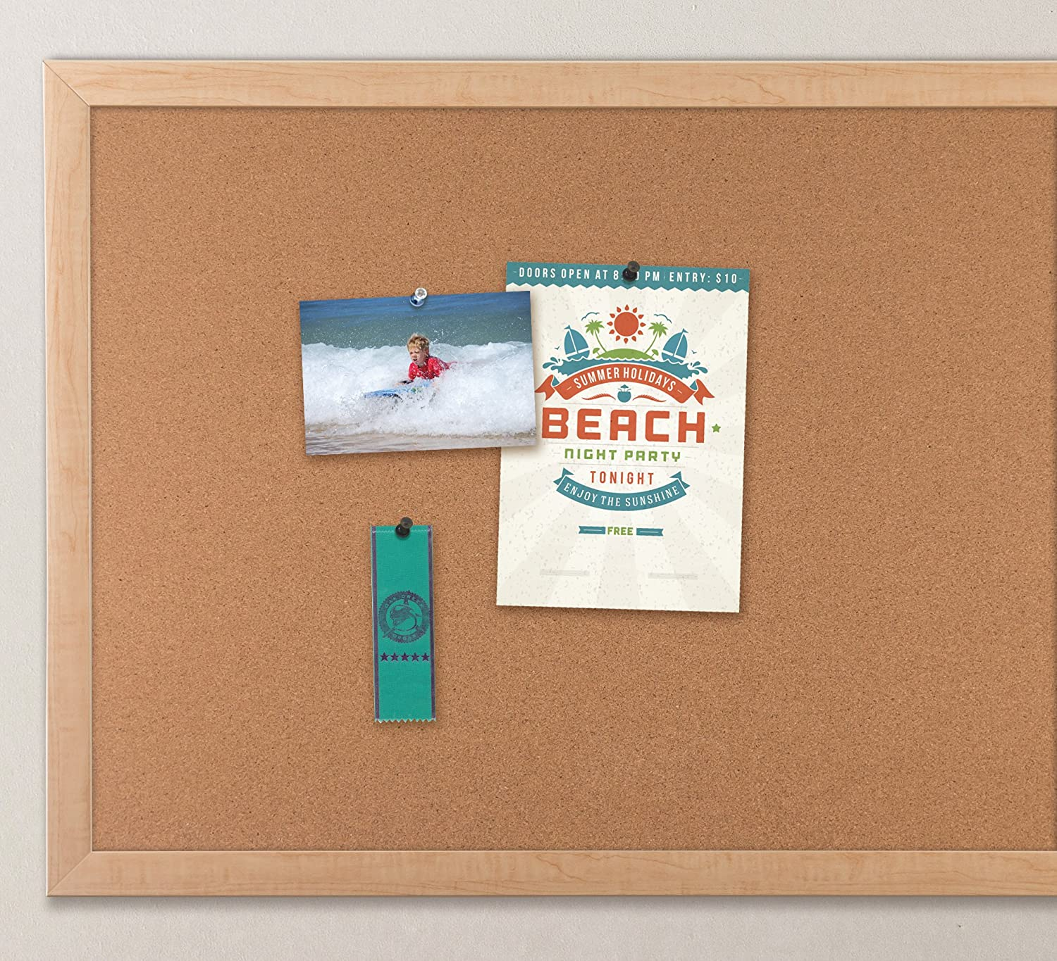 Uncategorized Cork Board No Frame amazon com u brands cork bulletin board 35 x 23 inches light birch wood frame office products