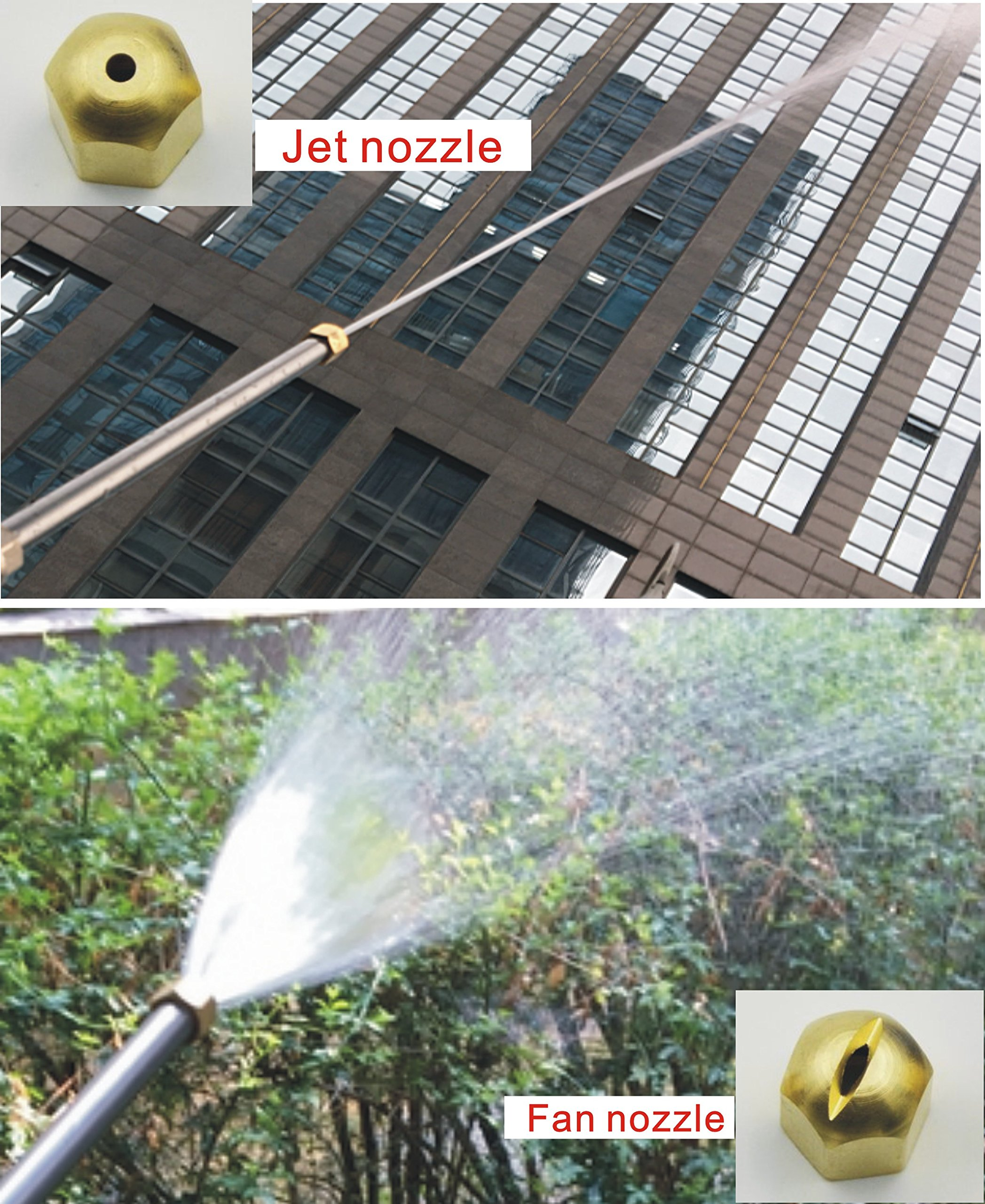 Buyplus Pressure Power Washer Wand - Upgrade Magic Water Hose Nozzle, Garden Hose Sprayer for Car Wash and Window Washing, 2 Tips-one is Power Jet Stream, one is Fan Action (Blue 27) by Buyplus (Image #4)