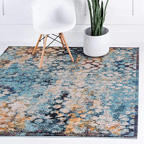 Unique Loom Vita Collection Traditional Over-Dyed Vintage Blue Square Rug 8 x 8