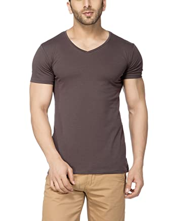0855e64df Tinted Men's Cotton Lycra V-Neck Half Sleeve T-Shirt  (TJ101CLH_Dgrey_Medium) Dark