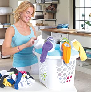 SockSync - Sock Sorter, Laundry Organizer - First and Only Patented Solution Solving The Hassle of Sock Sorting and Matching, IHA Innovation Award Finalist, Purple & White Color (Made in USA)