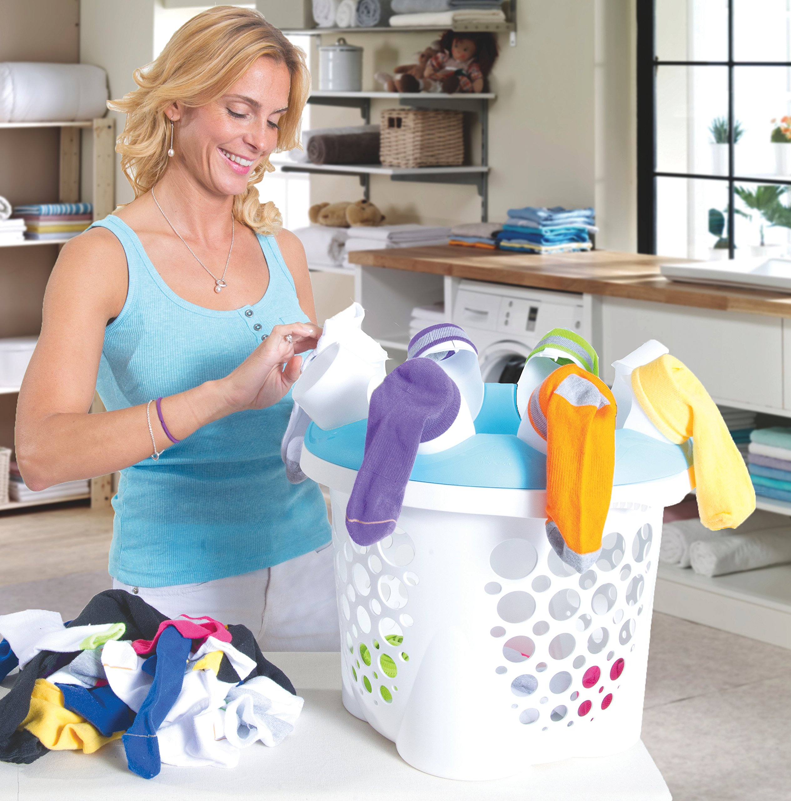 SockSync Sock Sorter, Laundry Organizer - First and Only Patented Solution Solving the Hassle of Sock Sorting and Matching, IHA Innovation Award Finalist, Purple & White Color (Made in USA)