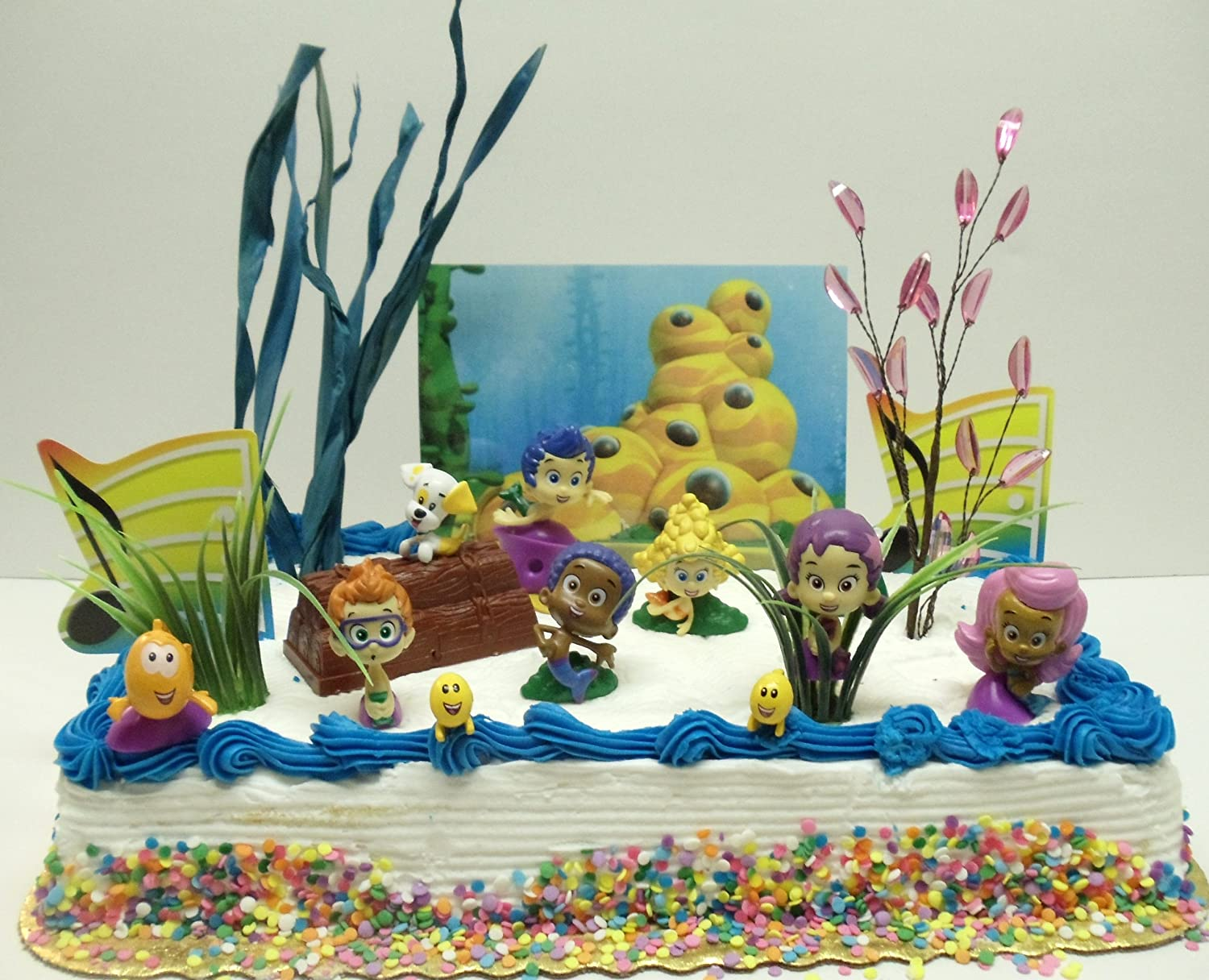 bubble guppies 20 piece birthday cake topper set featuring gil