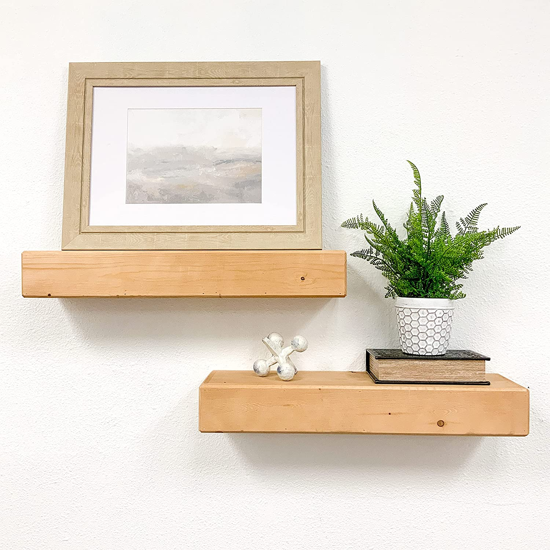 Del Hutson Designs Artisan Haute Wooden Boxed Floating Mantle Shelves (Walnut, 24 Inch / 2 FT)