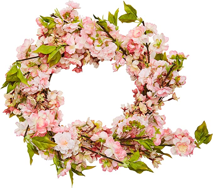 Nearly Natural 4783 Cherry Blossom Wreath 24 Inch Pink Amazon Co Uk Kitchen Home