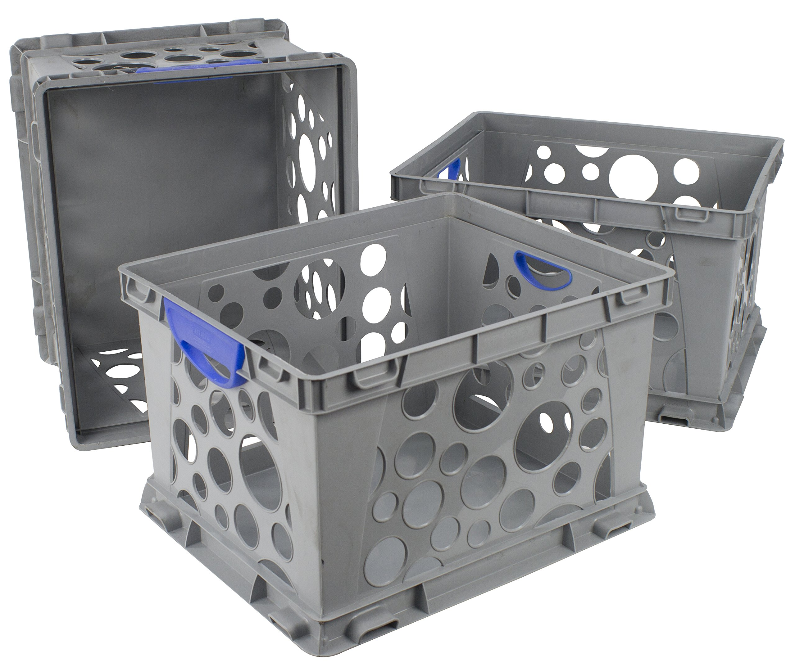 Storex Recycled Filing Crate with Comfort Handles, 17.25 x 14.25 x 10.5 Inches, Blue, Case of 3 (STX61791U03C)