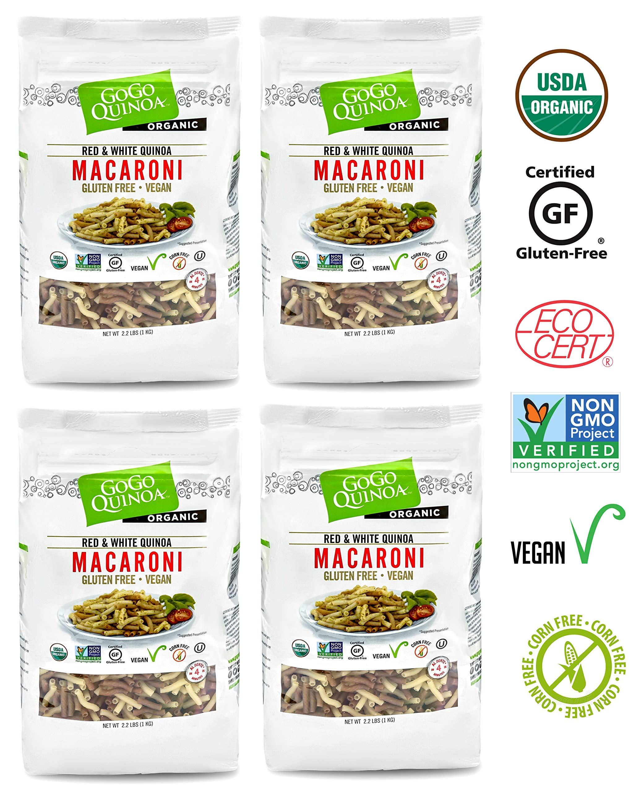 GoGo Quinoa Organic Premium Quality Vegan Red and White Macaroni Pasta, Non-GMO Project Verified & Kosher Certified 8.8 Lbs by GoGo Quinoa