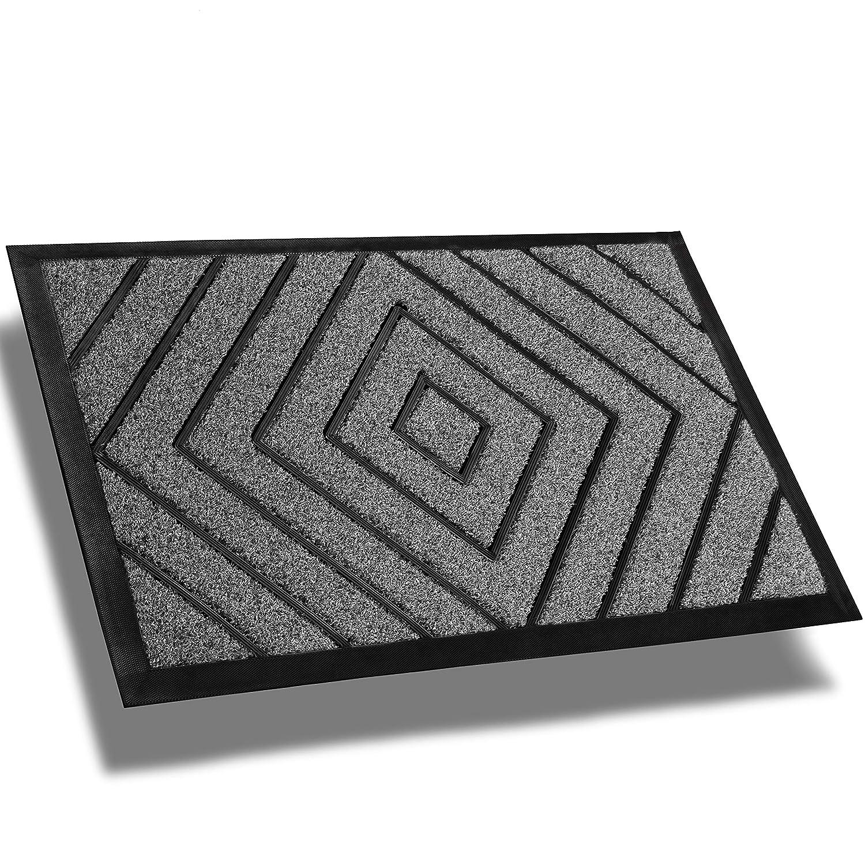 Extra Durable Front Door Mat Diamond Gray - Rug Entry Door Mat - Non-Slip Waterproof Thin Doormat Outdoor Doormat Indoor (30 x 18) - Inside Doormat and Back Door Mat - Easy Clean Door Rug Entry Mat