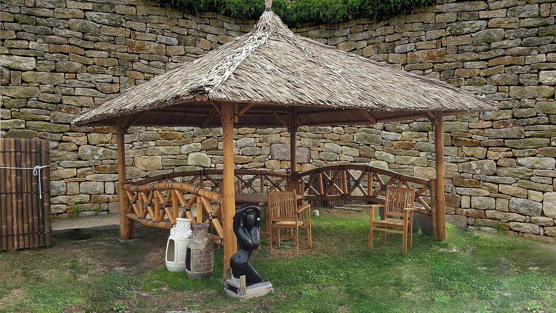 Bali Cenador, gazebo, Bali cabaña de bambú con laterales, 3 x 3 m ...