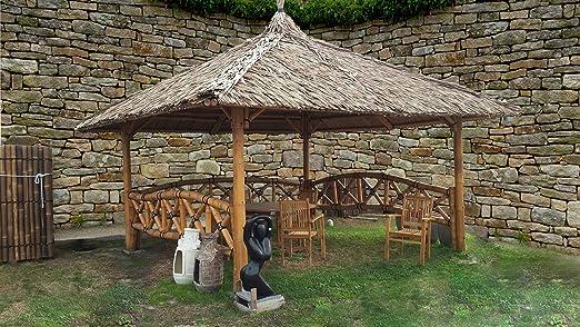 Bali Cenador, gazebo, Bali cabaña de bambú con laterales, 3 x 3 m: Amazon.es: Jardín