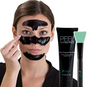 Charcoal Peel Off Mask Black [PEEL by Prosper Beauty] Large 3oz Tube Purifying Facial Blackhead Remover Deep Cleaning Aloe Vera Hyaluronic Acid Face Blackmask Masks All Skin Types Dry Oily Combination