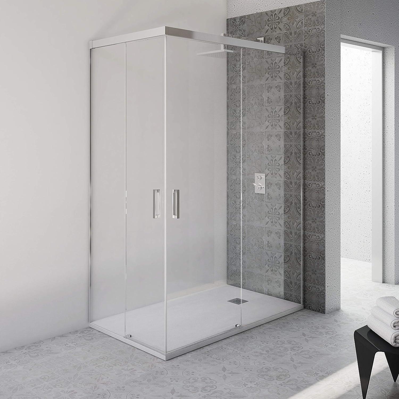 Mampara de ducha VAROBATH ANGULAR 2 FIJAS-2 PUERTAS CORREDERAS SIN PERFIL INFERIOR – Tratamiento ANTICAL INCLUIDO (70-80x90-100, Cromo): Amazon.es: Bricolaje y herramientas