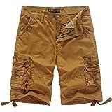 WenVen Men's Loose fit Cotton Cargo Shorts