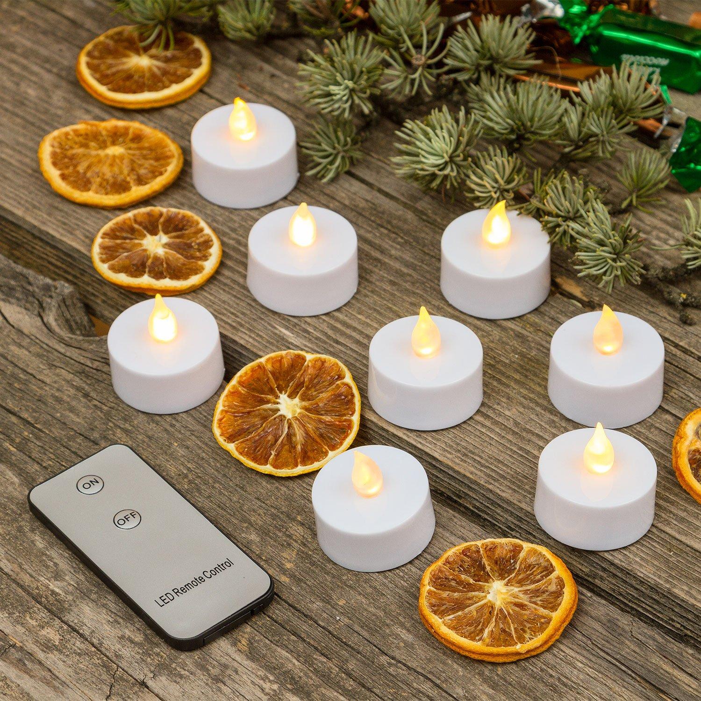 8 Tea Light a Batteria, LED Bianco Caldo, Effetto Fiamma, Telecomando ON/off, Interno, candeline LED, Candele Decorative, luci di Natale Luminalpark Lottiimportex