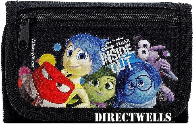 Black Disney Inside Out Kids Tri-Fold Wallet Coin Purse Bag