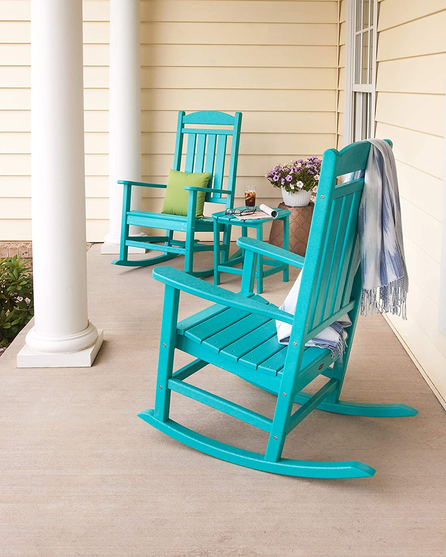POLYWOOD Rocker Rocking Chair Set, Slate Grey