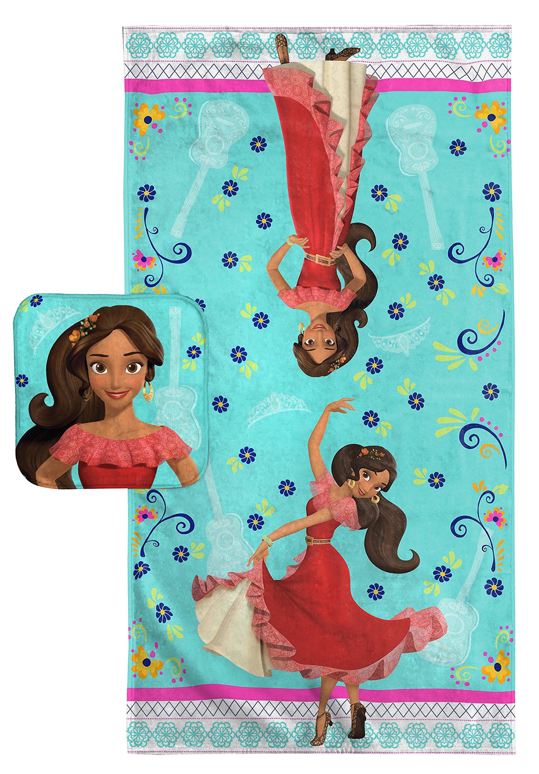 Disney Elena of Avalor Dancing Script Cotton Bath Towel/Washcloth Set