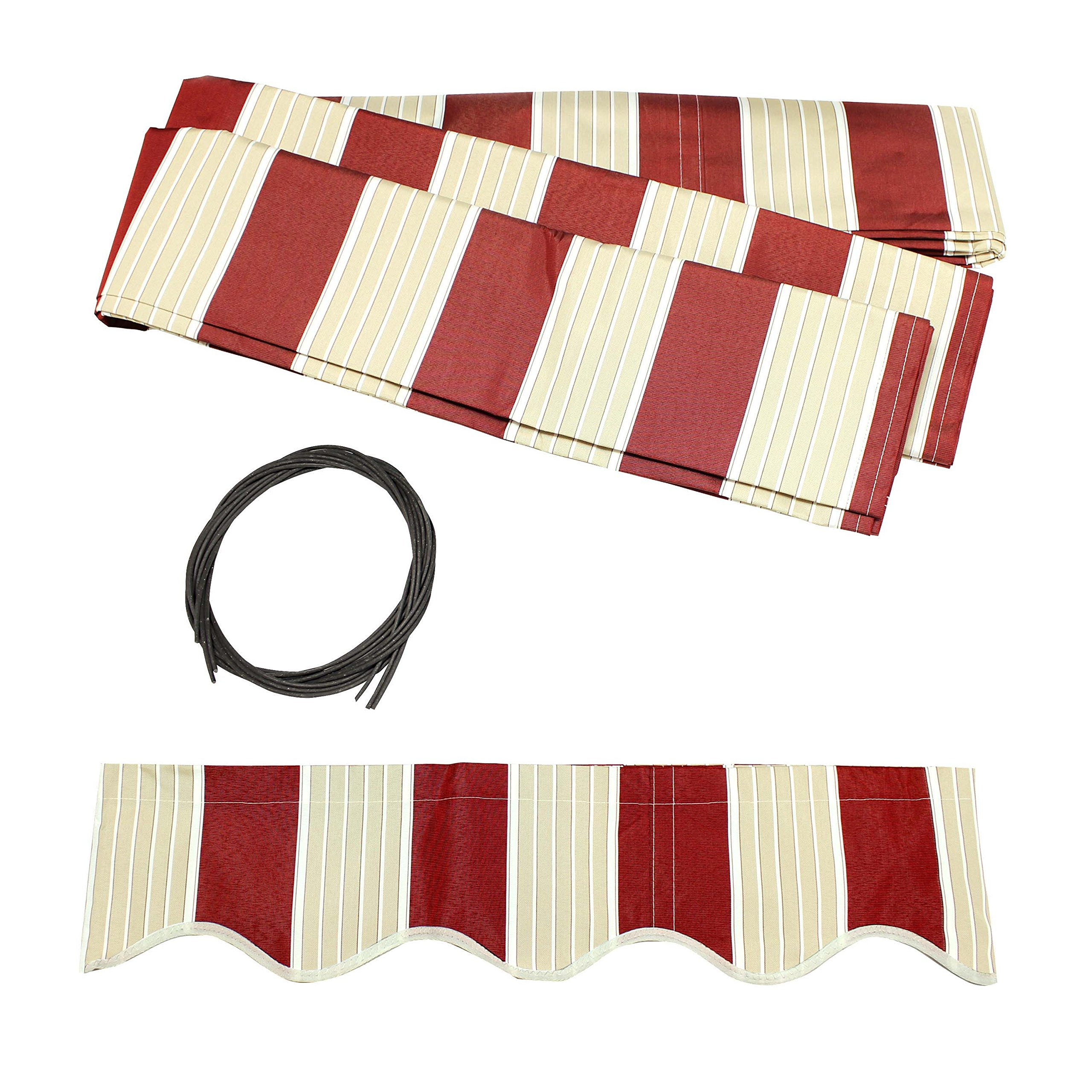 ALEKO FAB10X8MSTRED19 Retractable Awning Fabric Replacement 10 x 8 Feet Multi-Stripe Red