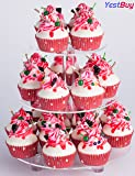 YESTBUY 3 Tiers Round Party Wedding Birthday Clear Tree Tower Acrylic Cupcake Stand (9.9 Inches) ¡­