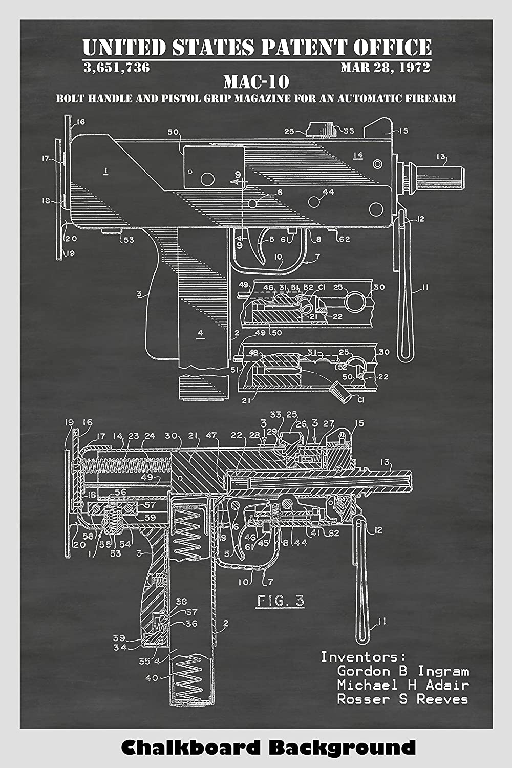 amazon com: mac-10 uzi automatic firearm poster patent print art poster:  choose from multiple size and background color options: handmade