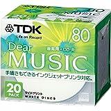 TDK CD-R 音楽用 80分 ホワイトワイドプリンタブル 20枚 5mmケース CD-RDE80PWX20N