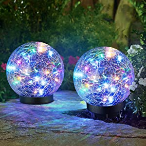 2-Pack Garden Solar Lights Decorative, Colored Cracked Glass Solar Globe Lights Outdoor RGBW 30 LEDs, Waterproof Ball Lights for Yard Patio Lawn Pathway Walkway Outside Decor, 4.72